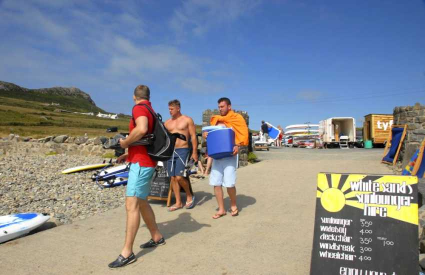 Heading for a day of surf and barbecue on Whitesands Beach