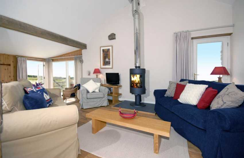 Pembrokeshire holiday home - comfortable lounge with wood burning stove