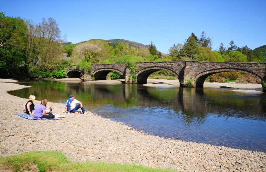 Picnic at the river bridge in Dolgellau