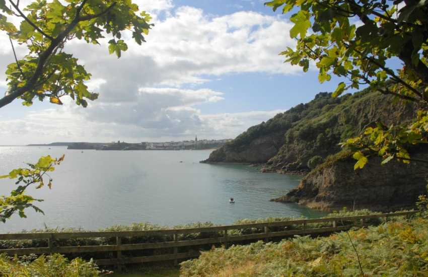 Walk along the cliff top to the point - fabulous sea views over Carmarthen Bay, Caldey Island and Tenby