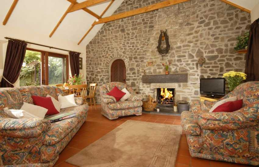 Coastal cottage near St Davids - spacious lounge with open fire