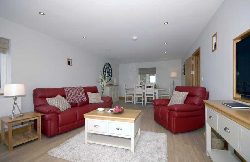 Haven Waterway holiday apartment - open plan living area