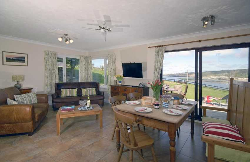 Poppit Sands home for holidays with spacious open plan living and sea views