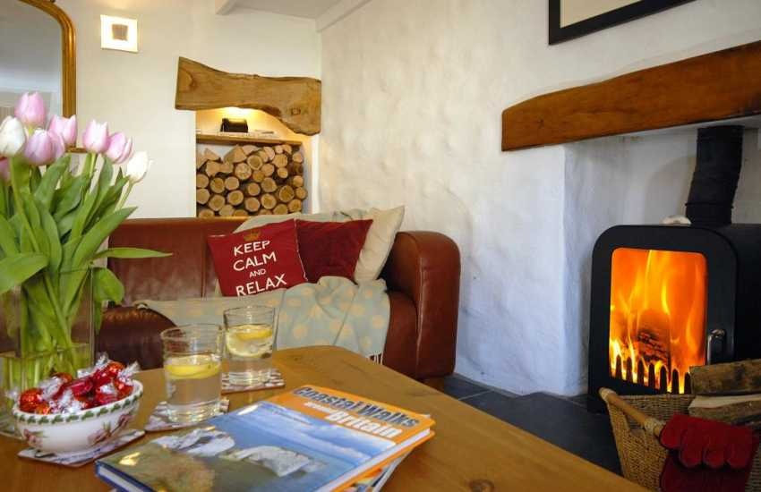 Cwtch up with a good book by the log burner in this cosy Pembrokeshire cottage