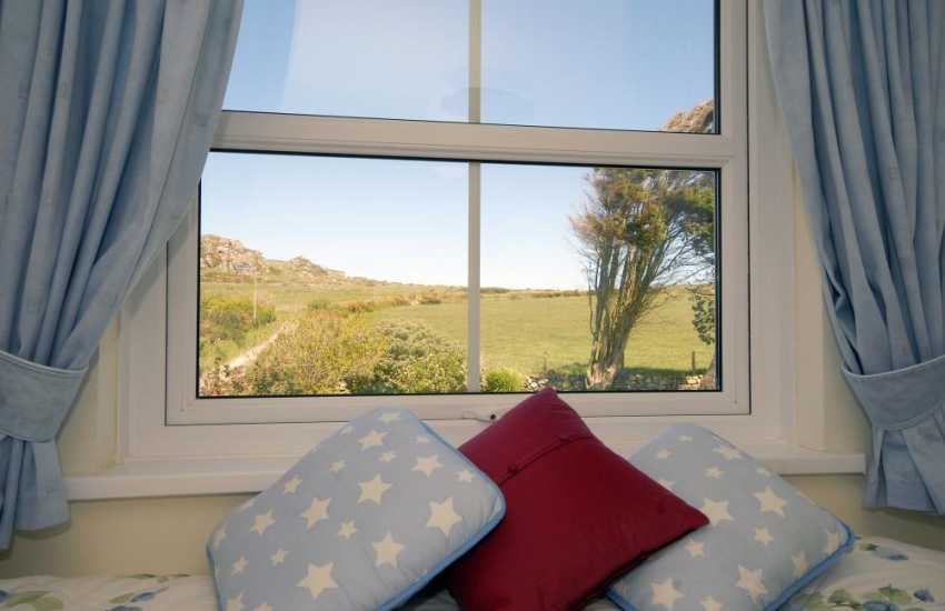 Views up to Garn Fechan from the twin bedroom