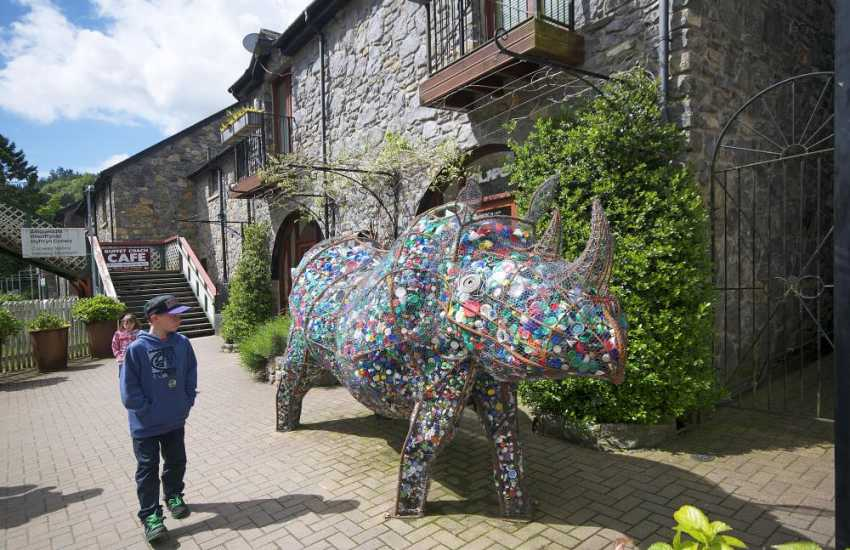 Giant Rhino on the railway station platform, Betws y Coed
