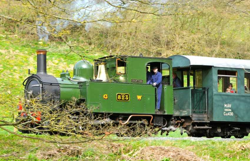 Steam Trains following the river between Welshpool & Llanfair Caereinion