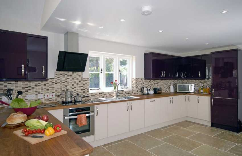 St Davids self-catering family cottage - open plan modern kitchen