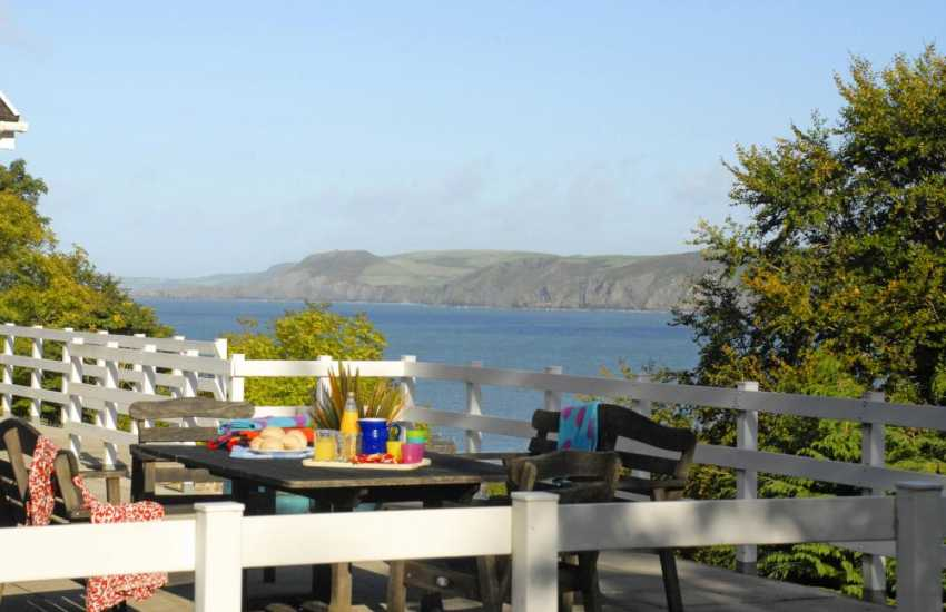 Enjoy Cardigan Bay's spectacular coastline from the terrace balcony