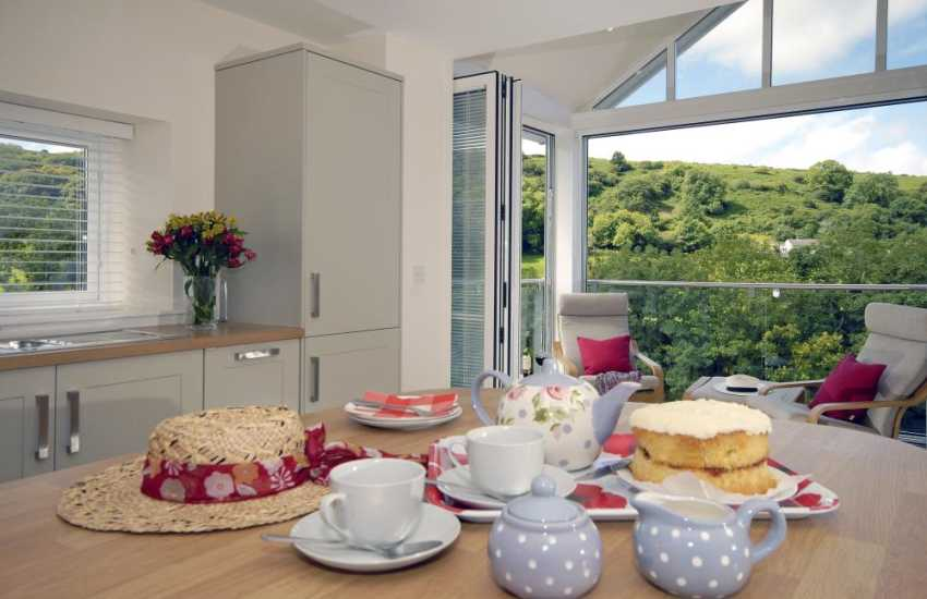 Tea and cake in the luxury kitchen overlooking the Gwaun Valley