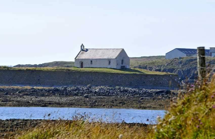 St Cwyfan Church in the sea at Aberffraw