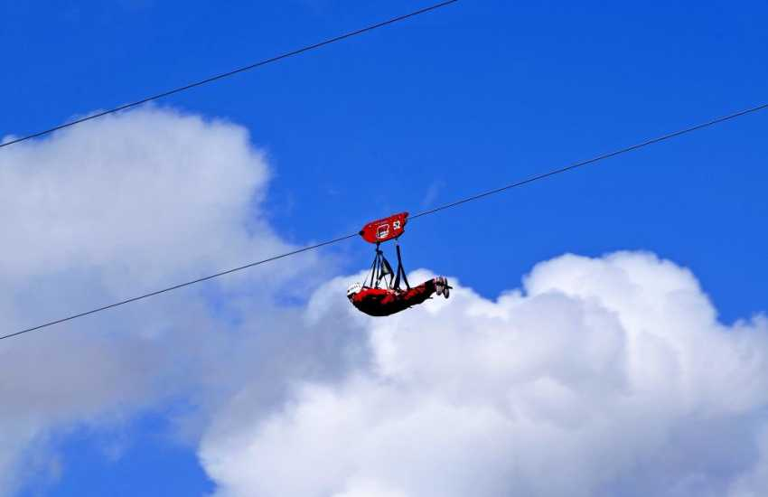 Take a zip wire ride at Zip world, Snowdonia