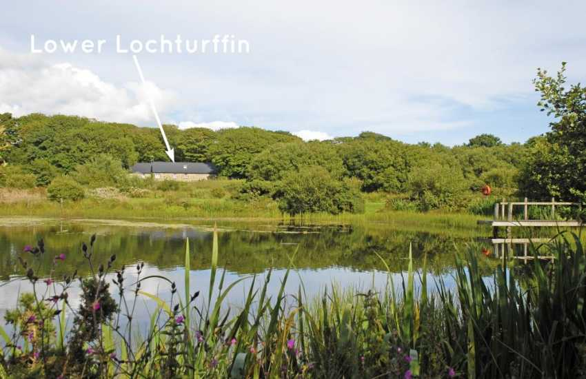 Lower Lochturffin overlooking and with access to private nature reserve containing two small lakes and a meadow with large pond