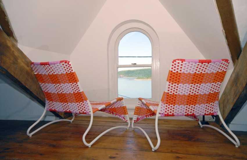 Cardigan Bay coastal holiday home - attic room with sea views