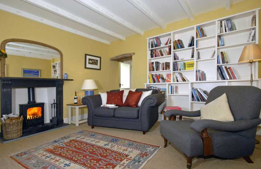 North Pembrokeshire farmhouse near St Davids - lounge with wood burning stove