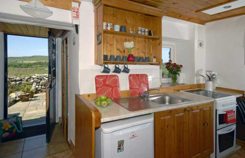 Strumble Head self-catering cottage - galley style kitchen