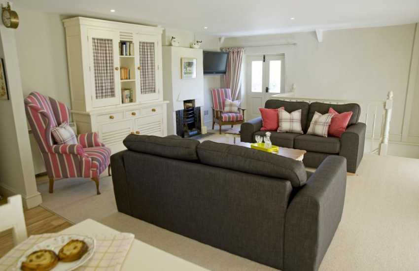Cowbridge Vale of Glamorgan luxury holiday apartment - sitting room with open fire