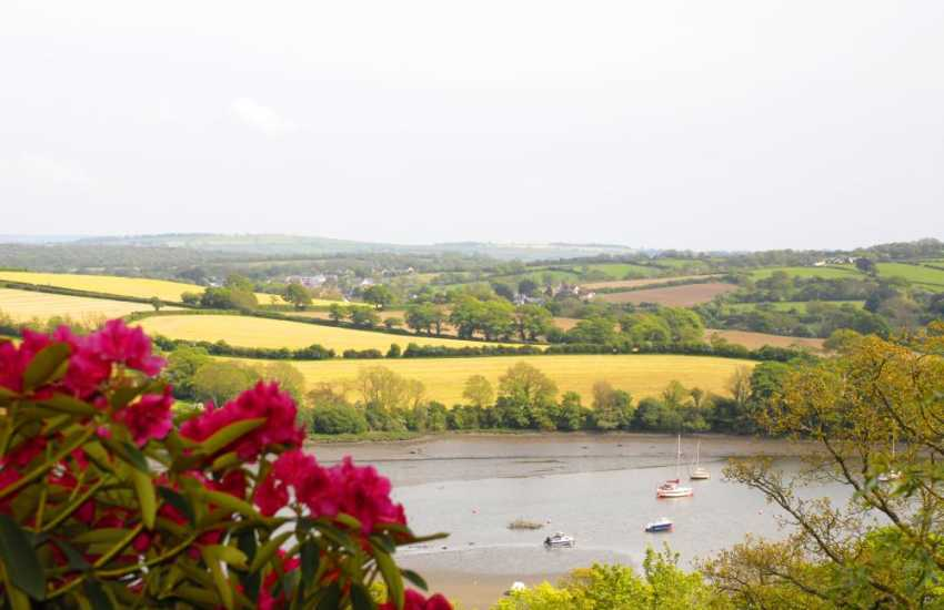 Beautiful views over fields and the River Teifi from the cottage