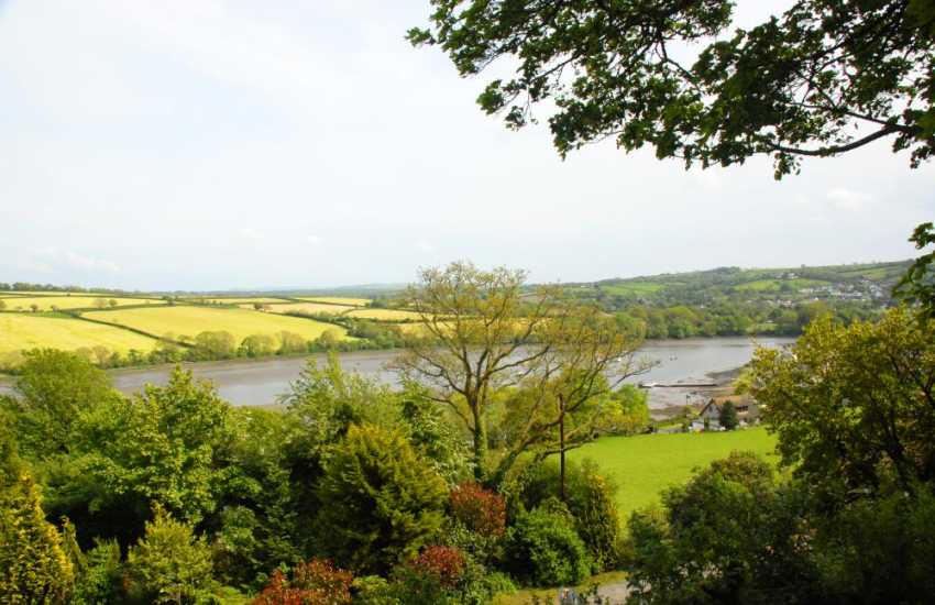 Breathtaking views over fields and the River Teifi from the gardens at Estuary View
