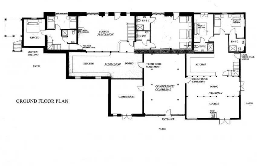 Devils Bridge Holiday house-ground floor plan