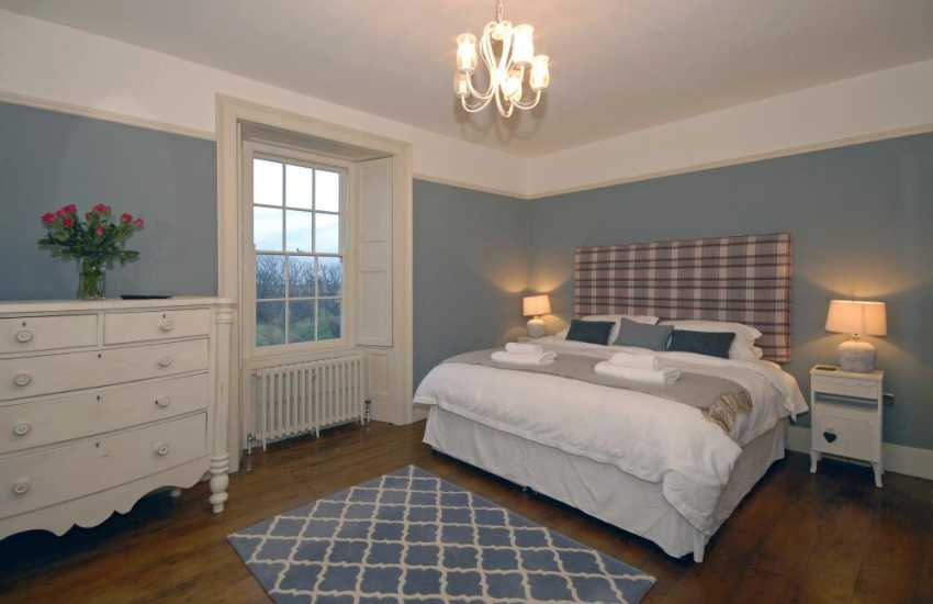 North Pembrokeshire Grade II listed farmhouse sleeping 10 - super king size bedroom with views to St Davids