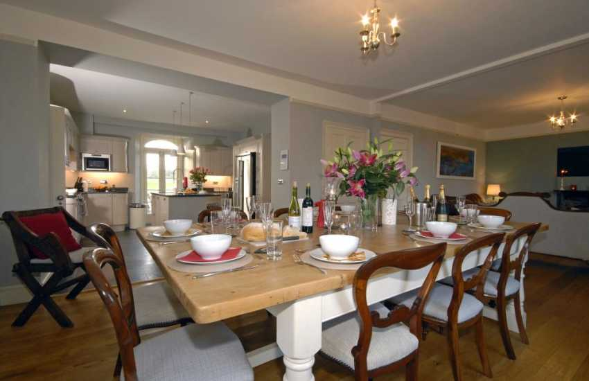 Porth Clais Pembrokeshire farmhouse - spacious dining room with seating for 10