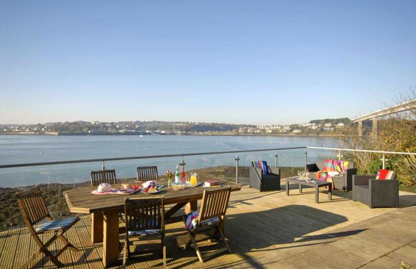 Enjoy panoramic Haven Waterway views from the large deck at Beach Croft