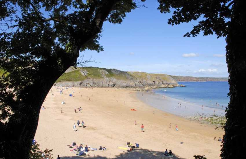 Exotic Barafundle Beach (National Trust) - crystal clear azure waters, fine golden sand and one of Pembrokeshire's most stunning beaches