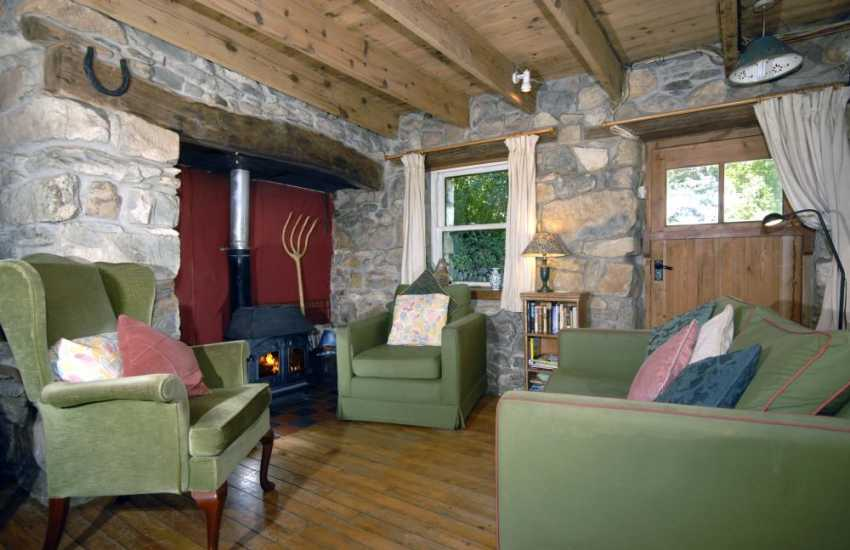 Carn Ingli Pembrokeshire cottage - Lounge with inglenook and wood burning stove