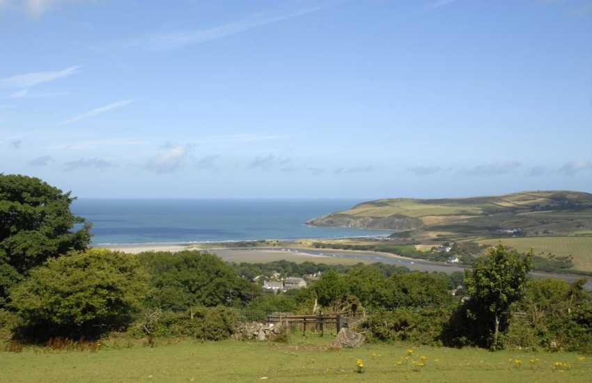 Enjoy breathtaking views across the Nevern Estuary towards Morfa Head from Penfeider Newydd cottage