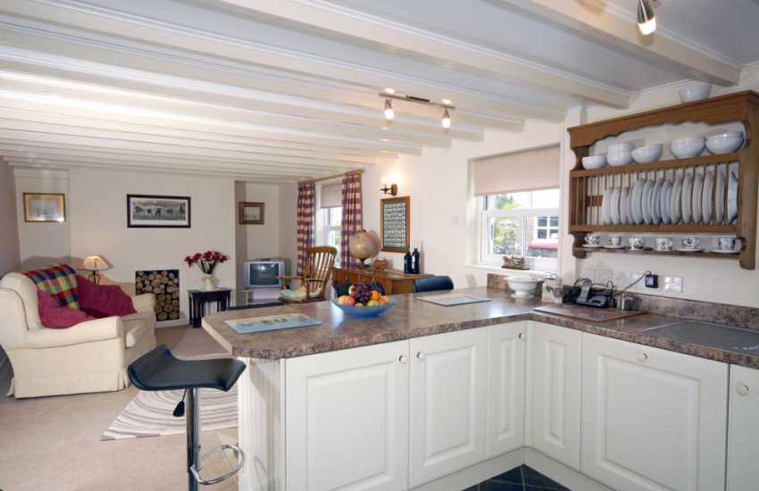 Tresaith self-catering holiday cottage  - spacious kitchen with snug