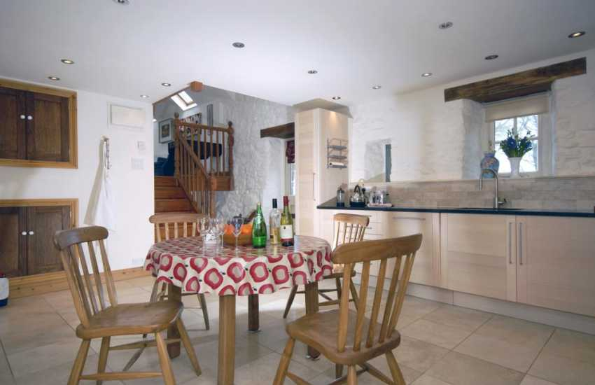 Self-catering Pembrokeshire cottage in Newport - modern kitchen/dining area and pets welcome