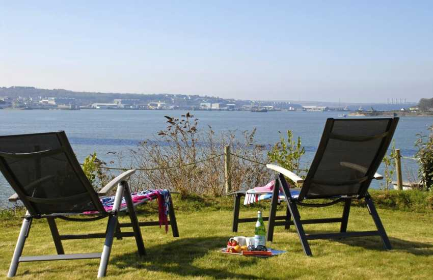 Relax and enjoy stunning views from the gardens across the Haven Waterway