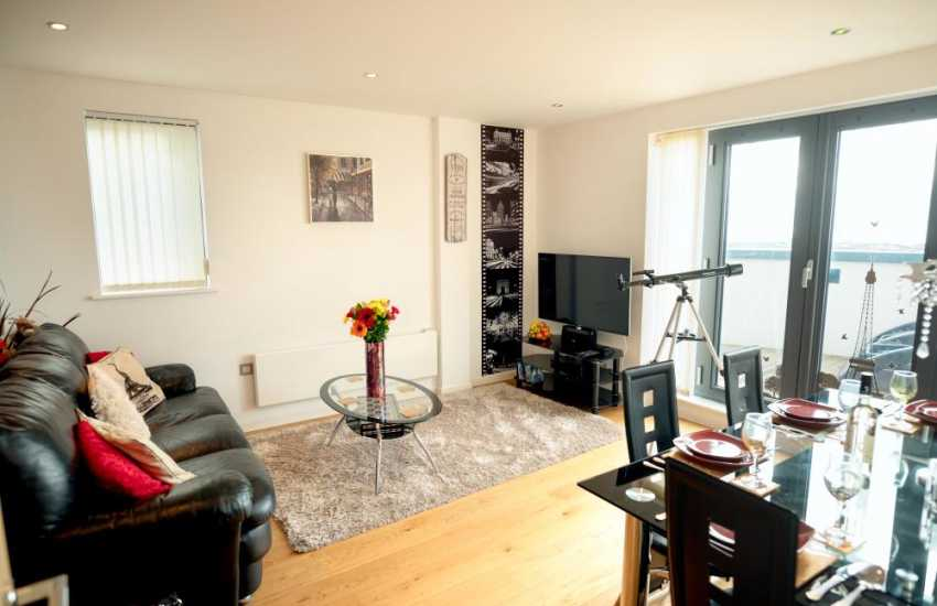 Gower Peninsula penthouse apartment Swansea-lounge diner