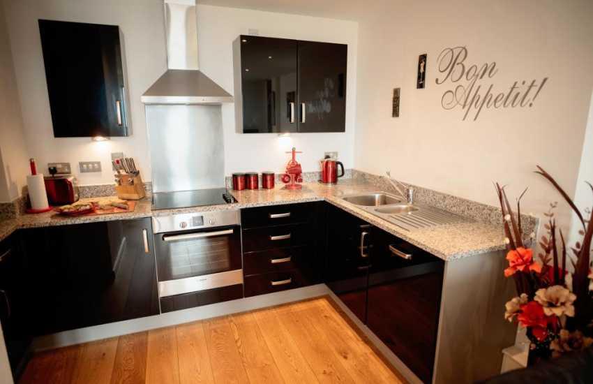 Swansea Marina luxury penthouse apartment for holidays-kitchen