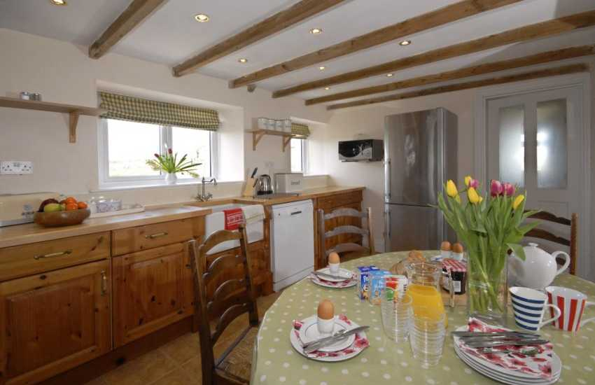 Self-catering Pembrokeshire cottage - open plan kitchen with Belfast sink