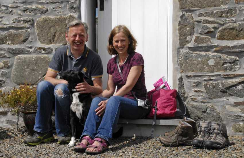 Penberi Cottage welcomes dogs - enjoying the summer sunshine