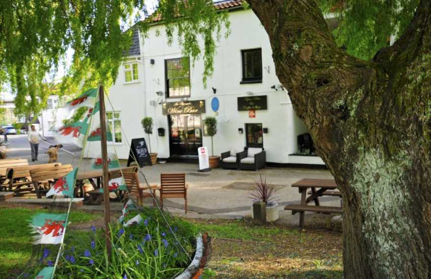 Wine bars on the river bank at Chepstow