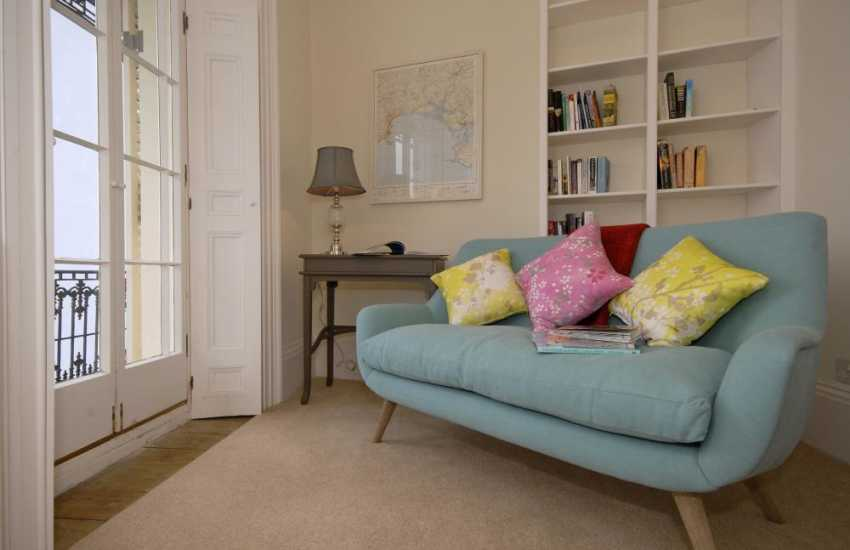 Tenby holiday house with wifi - reading room with desk, sofa and sea views