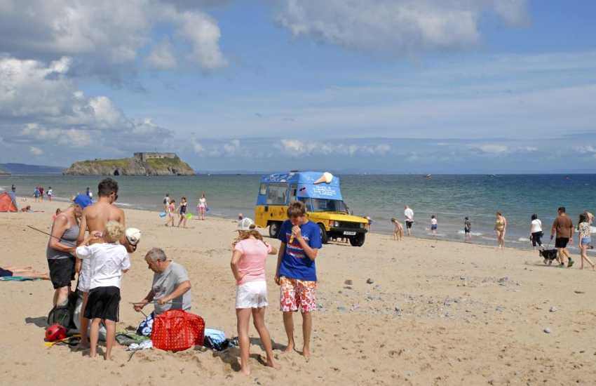 Tenby South Beach - a beautiful golden sandy beach over a mile long stretching from Tenby to Penally