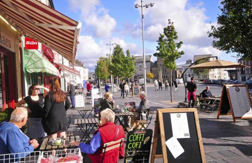 Caernarfon's bustling streets in springtime