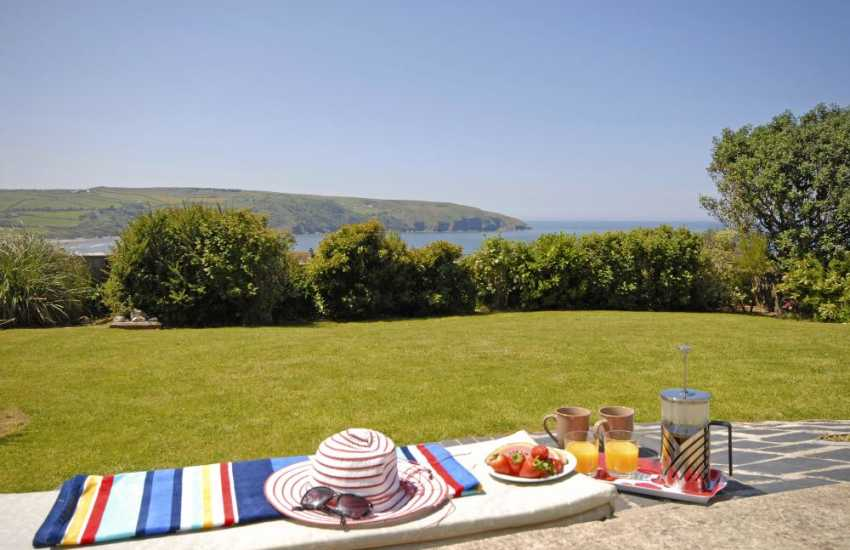 Teifi Estuary holiday home - lawn gardens and sea views