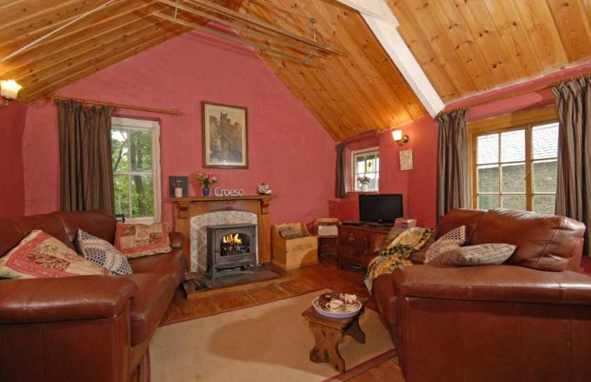 Teifi Valley Grade II listed holiday cottage - cosy sitting room with log burning stove and free Wifi
