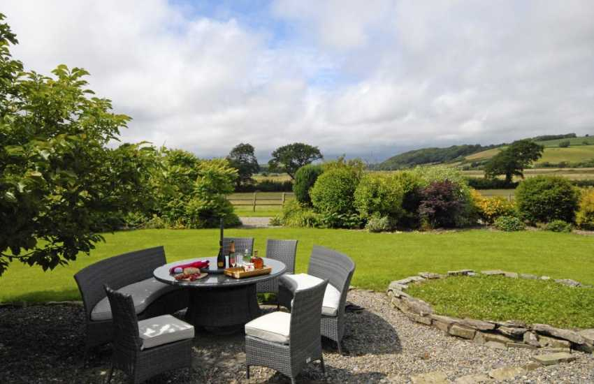 Pet friendly Carmarthenshire holiday home  garden with estuary and countryside views