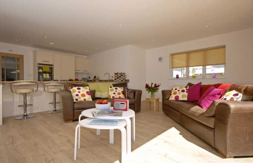 St Davids self-catering family holiday home - open plan modern living area