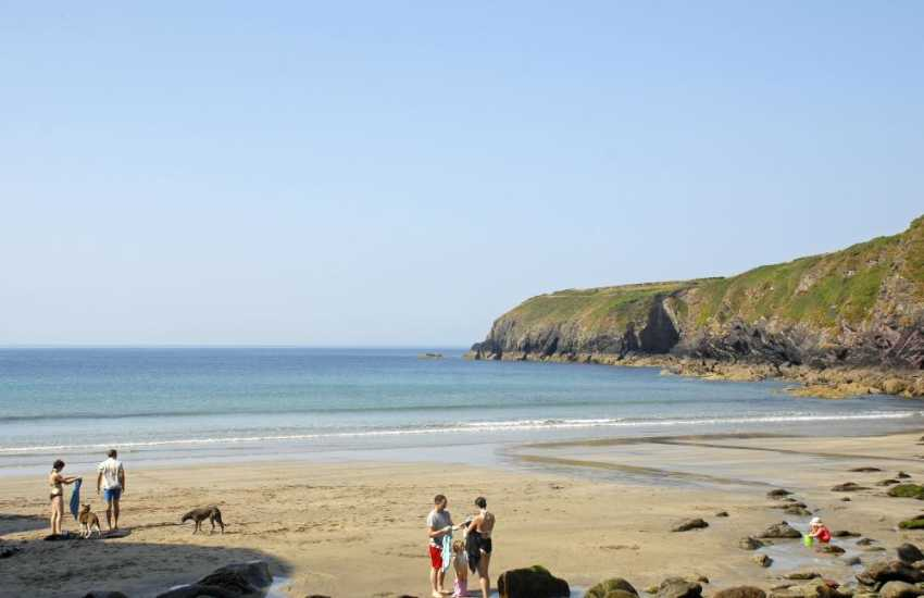 Caerfai Bay, St Davids - a beautiful sandy cove popular for swimming, snorkelling and rock pooling at low tide