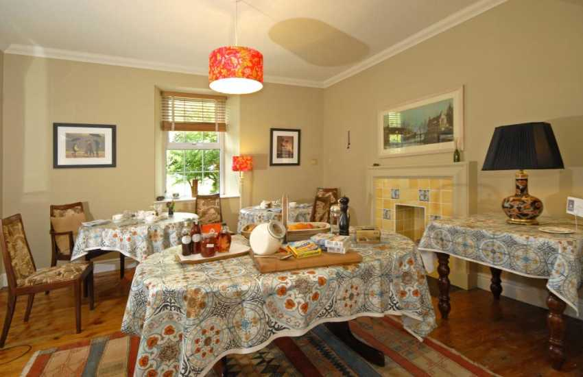 Enjoy a full Welsh breakfast in the dining room at Ty Llwyd Farm B & B next door