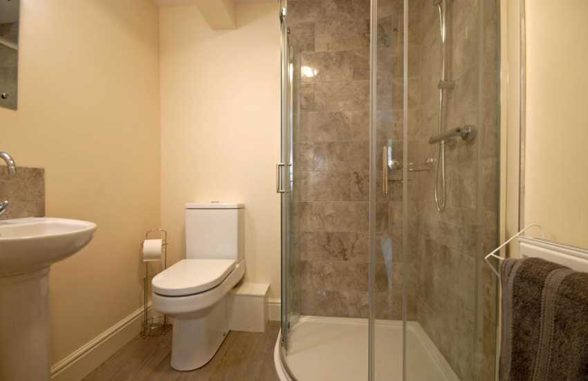 St Davids holiday apartment - spacious shower room