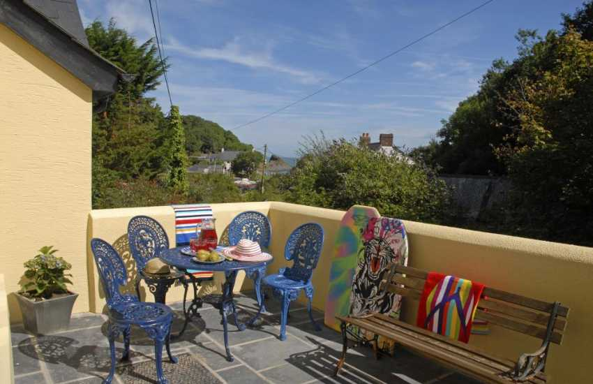 North Pembrokeshire holiday cottage - terrace over looking Cwm yr Eglwys
