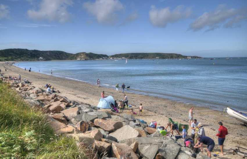Beach at Morfa Nefyn with Porth Dinllaen in the distance